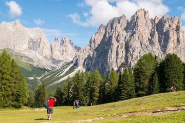 Panorami dell'Alpe Ciampedie, Vigo di Fassa, Val di Fassa, Trento, Trentino Alto Adige, Italia