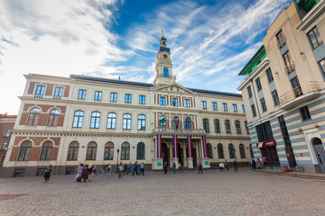 View on the The Town Hall Square and Riga City Council (Riga Dome) are located in the city center of Riga. Latvia.