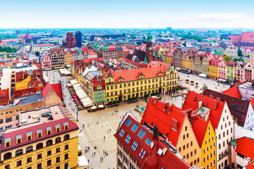 Aerial panorama of Wroclaw, Poland