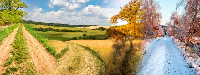 Czterosezonowy kolaż ze zdjęć przedstawiających drogi w krajobrazie