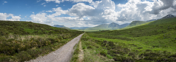 a view of the west highland way in the highlands of scotland during a bright summer day