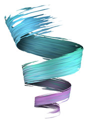 Colorful violet to blue 3D brush paint stroke swirl
