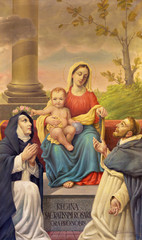 BOLOGNA, ITALY - APRIL 18, 2018: The painting of Madonna of Rosary with St. Dominic and St. Catherine in chruch Chiesa di San Benedetto by Andrea Galvan (1950).
