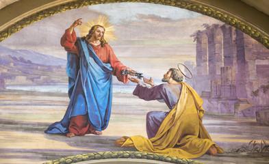 MODENA, ITALY - APRIL 14, 2018: The fresco Jesus consigning the keys to Peter  in church Chiesa di San Pietro by Carlo Goldoni (1822-1874) and Ferdinando Man