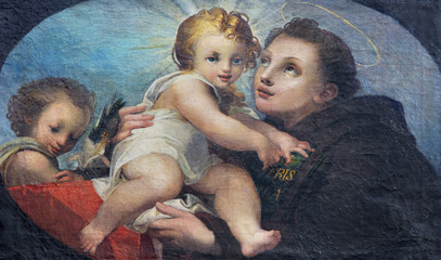 PARMA, ITALY - APRIL 17, 2018: The painting of St. Anthony of Padua in church Chiesa di San Uldarico.