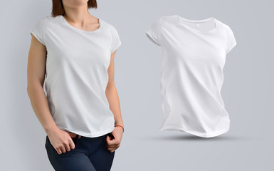 Stylish template Set with athletic beautiful girl in the white t-shirt and shape of t-shirt without body
