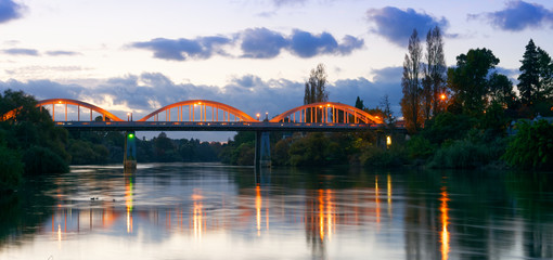 Dusk along the Waikato River in Hamilton, New Zealand