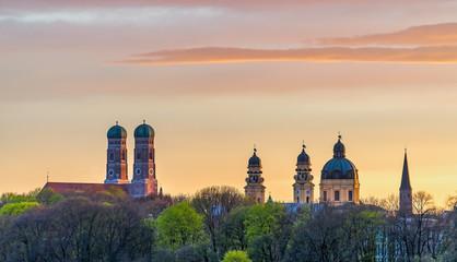 Munich Frauenkirche during beautiful sunset in summer