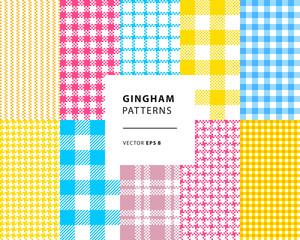 Gingham seamless patterns set