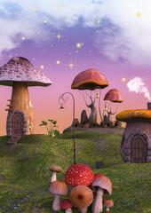 Fairytale land full of mushrooms and lanterns.