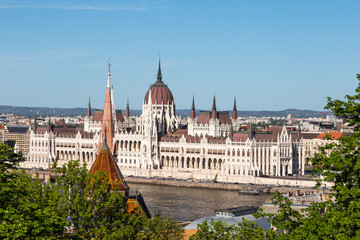 View of hungarian parliament in Budapest, the most beautiful building in Europe in neo-gothic style.