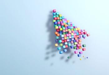 3D rendering crumbling cursor colorful pixel