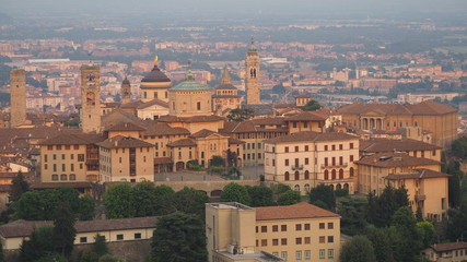 Bergamo. One of the beautiful city in Italy. Landscape on the old town from Saint Vigilio hill