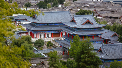 Aerial Views of Mufu Palace in the Old Town of Lijiang, China