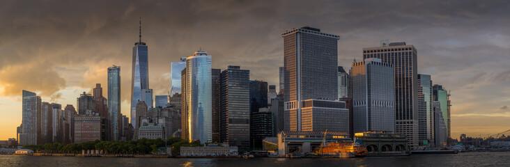 Panorama view of  NYC Lower Manhattan skyline in New York Harbor
