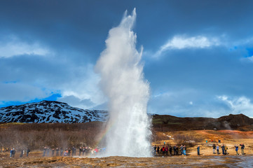 Strokkur geysir eruption in Iceland.