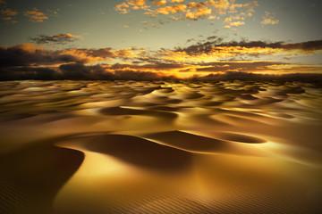 Desert with sand dunes.