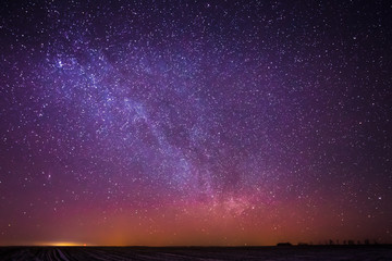 Natural Real Night Sky Stars With Milky Way Over Field