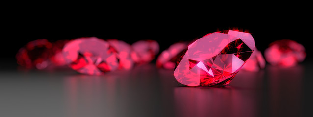 Ruby Gem Diamond dark reflection on gradient background 3d rendering.