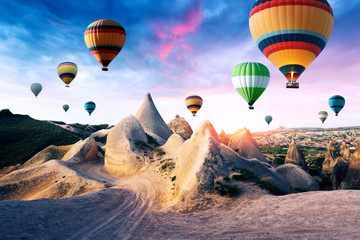 Color balloons in the sunrise sky. Cappadocia, Turkey