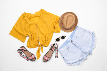 Set of stylish clothes and accessories on white background, flat lay