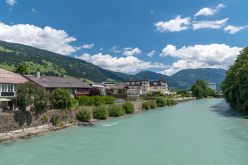 River and homes of Lienz, Austria