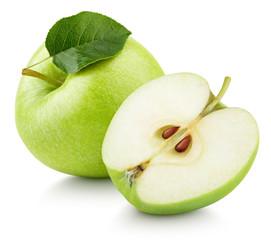 Dojrzała zielona jabłczana owoc z jabłczaną połówką i zielonym liściem odizolowywającymi na białym tle. Jabłka i liść z ścinek ścieżką