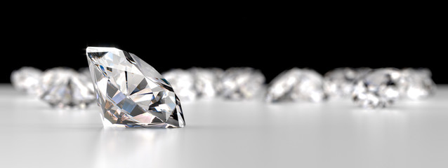 Group of Diamonds placed on reflection background, 3d rendering.