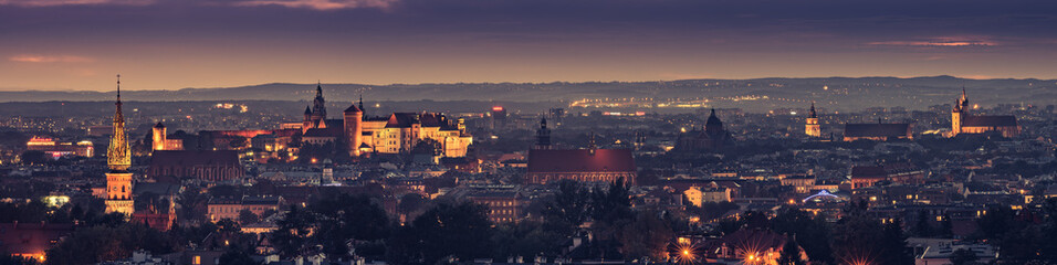 Krakow, Poland night panorama of historical old city