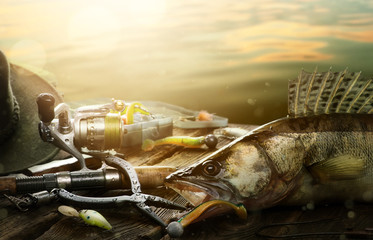 Happy Fishing background; Fishing tackle and trophy zander