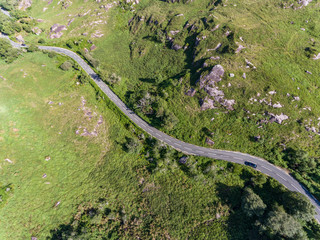 Aerial view of Winding road through the scenic Ring of kerry landscape in the Republic of Ireland