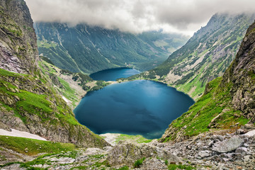 Czarny Staw pod Rysami (Black Lake below Mount Rysy) and Morskie Oko lakes in Tatra Mountains, Poland
