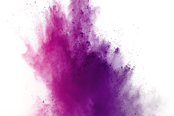 Abstract of colored powder explosion on white background. multicolor powder splatted isolate. Colored cloud. Colored dust explode. Paint Holi.