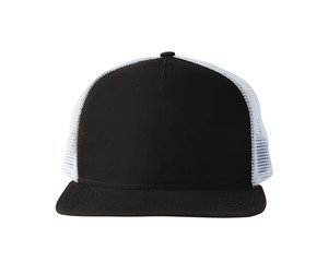 Front view of black baseball cap or trucker hat isolated on white background