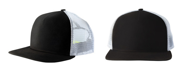 Front and side view of black baseball cap or trucker hat isolated on white background