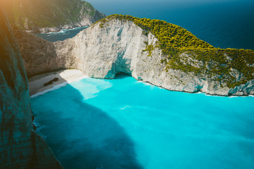 Navagio beach with Shipwreck on the beach with turquoise water. Famous landmark location of Zakynthos island in the world, Greece