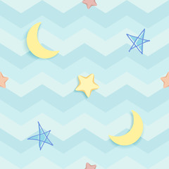 Cute seamless pattern with colorful hand-drawn stars and crescent moon. Blue pattern with wavy stripes and zigzag chevron. Children's bedroom, baby nursery decorative wallpaper. Vector Illustration