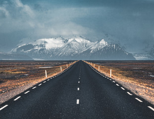 Street Highway Ring road No.1 in Iceland, with view towards mountain. Southern side if the country.