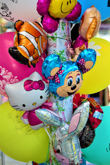 Balloons on holiday or a party. The concept of a holiday and fun. Selective focus, close-up, copy space.