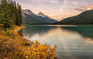 Golden hour at the Upper Waterfowl Lake - Icefields Parkway in Autumn
