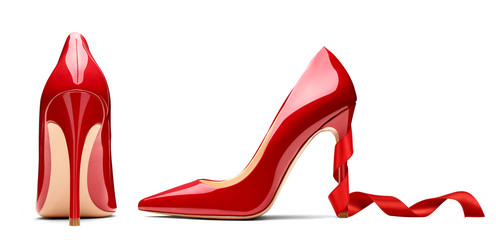 red high heel footwear ribbon fashion female style