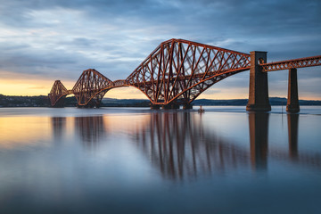 View of Forth Rail Bridge at sunset railway bridge over Firth of Forth near Queensferry in Scotland
