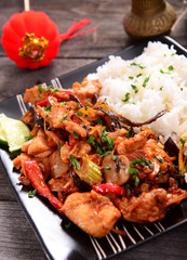 Oriental dish - rice with chicken