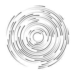 Black swirl shape, abstract illustration. Circle round black lines. Abstract vortex trail.