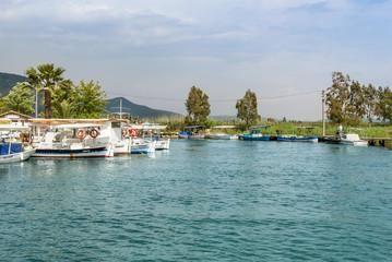 Mugla, Turkey, 14 May 2012: Boats at Azmak Stream, Gokova Bay, Akyaka