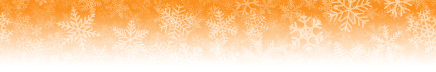 Christmas horizontal seamless banner of many layers of snowflakes of different shapes, sizes and transparency. On gradient background from orange to white.