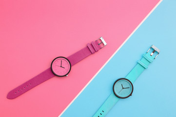 Set of multicolored wrist watches for background