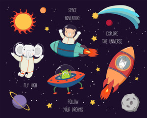Set of cute funny elephant, bear, unicorn astronauts, alien in space, with planets, stars, quotes. Hand drawn vector illustration. Line drawing. Design concept for children print.