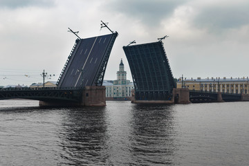 Open Palace bridge from the Neva river in St. Petersburg, Russia