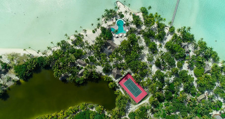 hotel resort at pacific islands, french polynesia in aerial view